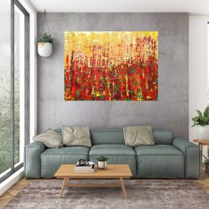 jesenný obraz, jesenný les, oranžový abstraktný obraz,