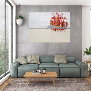 minimalistický obraz, gejzír, strieborný obraz, béžový obraz