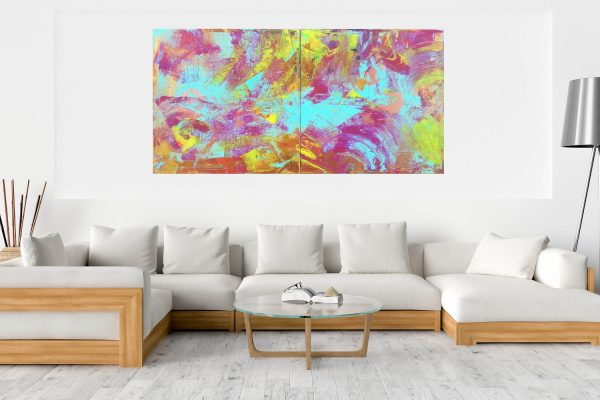 diptych abstract artwork, large colorful abstract, turquise blue and golden painting