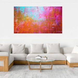 large colorful abstract, pink abstract, extra large original artworks