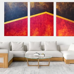 black and red abstract painting, triptych modern art