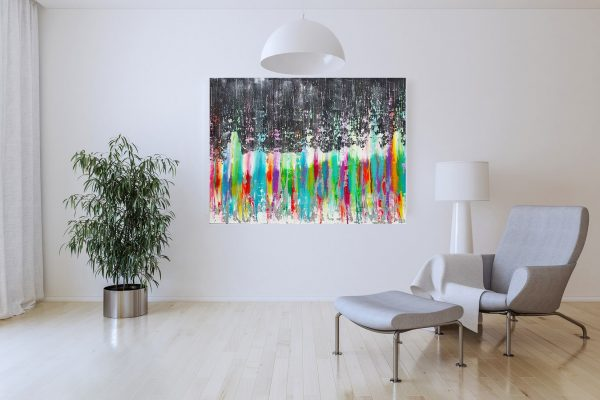 large colorful painting, modern abstract