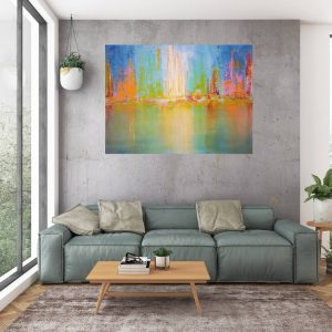 city reflection, large colorful abstract, cityscape