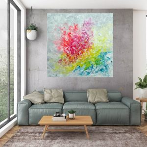 large colorful abstract, xl abstract, large floral abstracct, silver abstracct