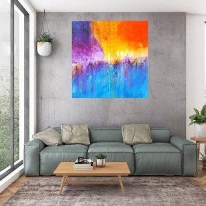 sunset painting, waterfall painting