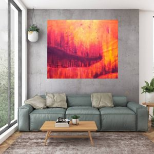 large orange abstract, red and orange painting, orange abstract