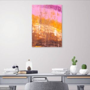 brown and orange painting, pink abstract, sunset