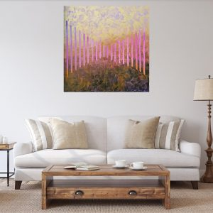 large golden abstrat, pink and gold, old rose