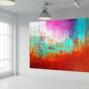 overzised abstract, large landscape, autumnal landscpae, turquoise blue painting