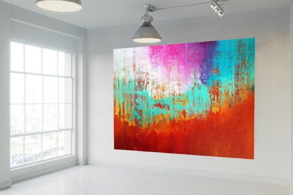 overzised abstract, large landscape, autumnal landscpae, turquoise blue painting