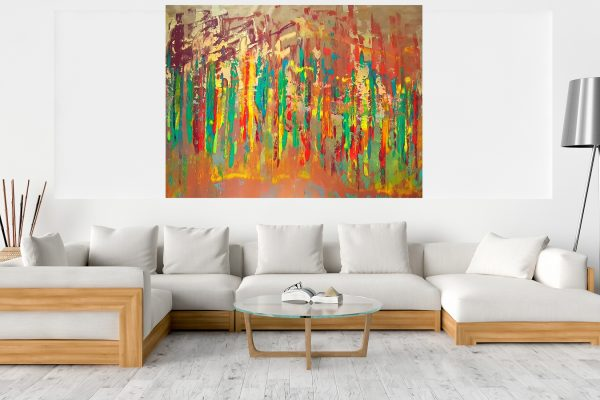 oversized painting, xxl painting, large earthy toned abstract, golden painting, copper painting