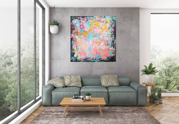large colorful abstract, xl colorful painting, pink, turquoise blue painting, living coral painting