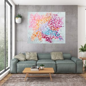 large colorful abstract, large floral painting, palette knife flower painting