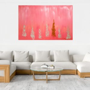 large pink painting, living coral abstract, heaven painting, love