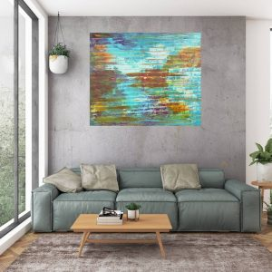 large blue painting, blue abstract painting, truquoise blue abstract