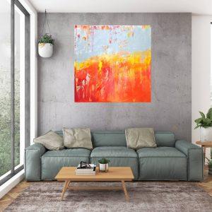 veľký strieborný obraz, strieborný a červený abstrakt, červená a oranžová maľba