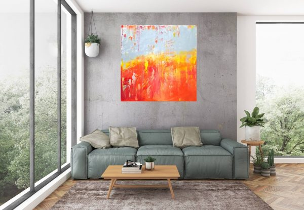 large silver painting, silver and red abstract, red and orange painting