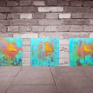 dekorácia do kuchyne, tyrkysovo modrý obraz, modrý oranžový obraz, rustikálny obraz