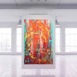 xl colorful abstract, multicolred abstract, blue and orange abstract, fire painting