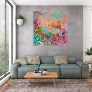large colorful abstract, abstract flower, flower paintin