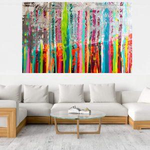 XXL pestrofarebný abstrakt, mnohofarebný obraz, strieborný obraz, extra veľký obraz