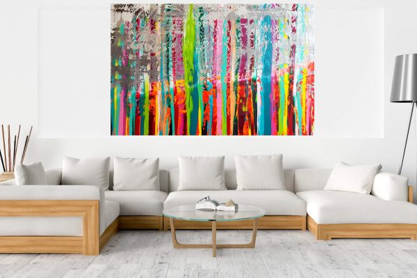 XXL colorful abstract, multicolored painting, silver painting, extra large art