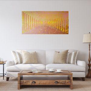 zlatý a medený abstrakt, zlatý obraz, maľba neba, medená abstraktná maľba