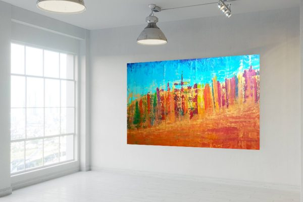 large colorful painting, xxl painting, autumnal landscape, autumnal trees, golden painting