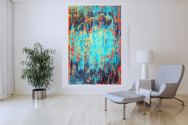 colorful abstract painting, turquoise blue painting, blue and golden abstract, waterfall, blue and red painting