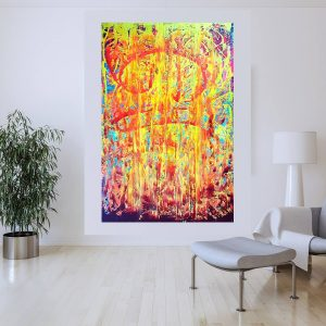 XXL colorful painting, large yellow abstract, orange painting, fire