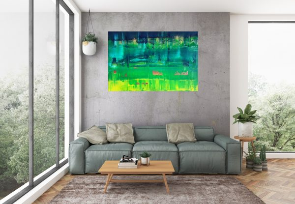 green painting, green and yellow painting, large green abstract