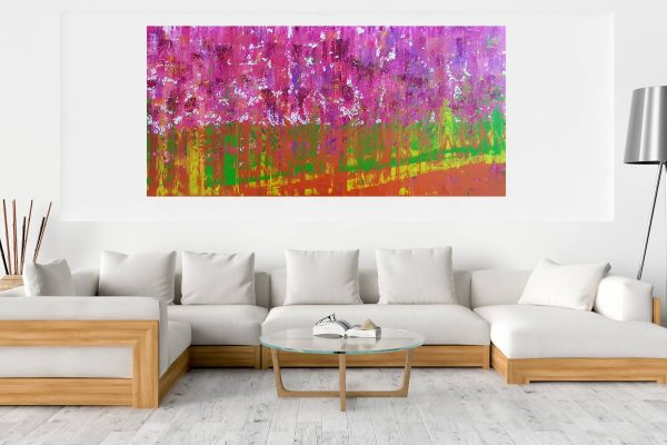xxl abstract, blooming flowers, cherry tree, copper painting