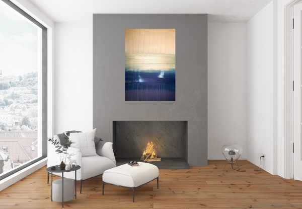 sunset, golden and blue abstract, golden painting, ships, sea