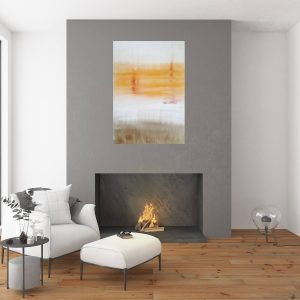 abstract minimalism, golden and white painting, sunset painting , copper abstract