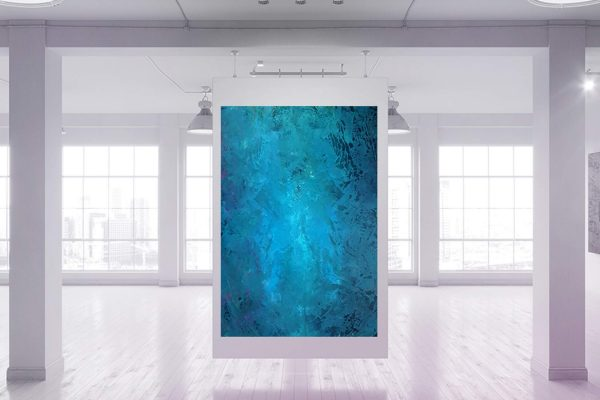 large blue painting, blue abstract, xxl turqoise blue painting