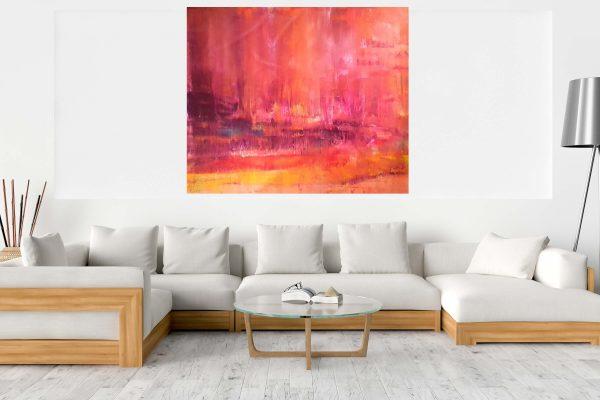 spring landscape, large landscape painting, pink, purple, orange , summer