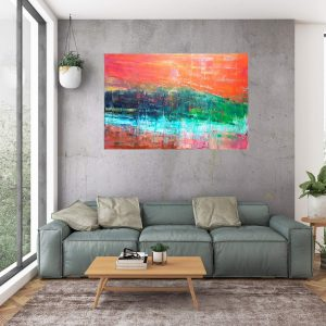 forest painting, large colorful abstract, copper abstract, golden painting, river