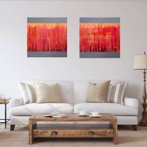 dvojdielny abstrakty obraz, cerveny obraz, oheň, plamene obraz, láska obraz