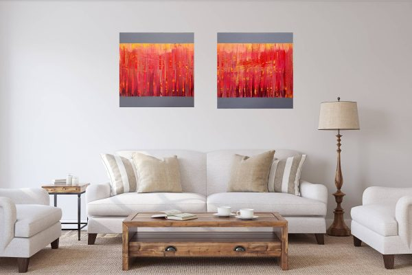 diptych abstract, red painting, fire, heart, large red painting, purple abstract