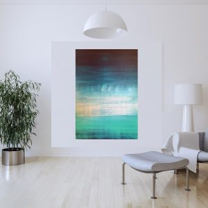 turquoise blue, seascape, large blue painting