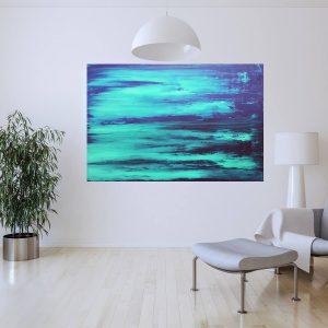 veľký tyrkysový obraz, more, oceán, modrý obraz originál