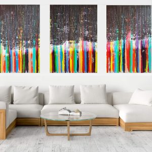 extra large abstract, colorful modern art, black and white painting, anthracite black, triptych abstract