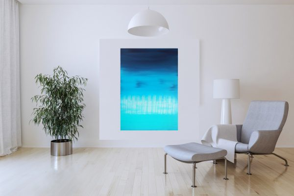 large blue abstract, large blue painting, seascape, turquoise blue art