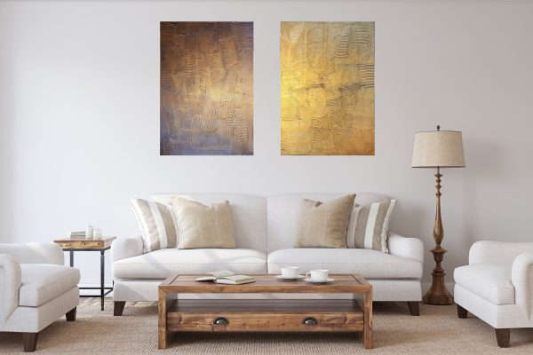 diptych painting, golden abstract, anthracite black, love
