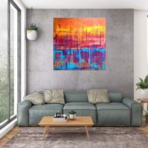 orange, blue, sunset, large abstract, colorful art