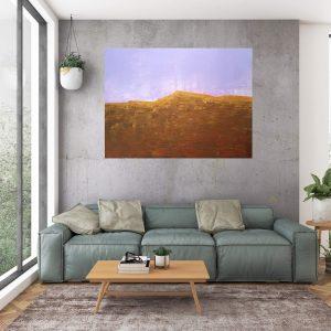autumnal landscape, minimalistic painting, golden painting,