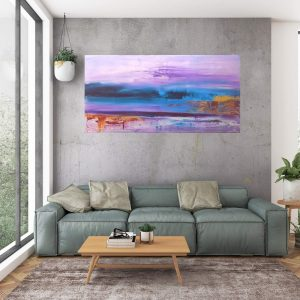 purple abstract, seascepae, golden and blue art, large abstract