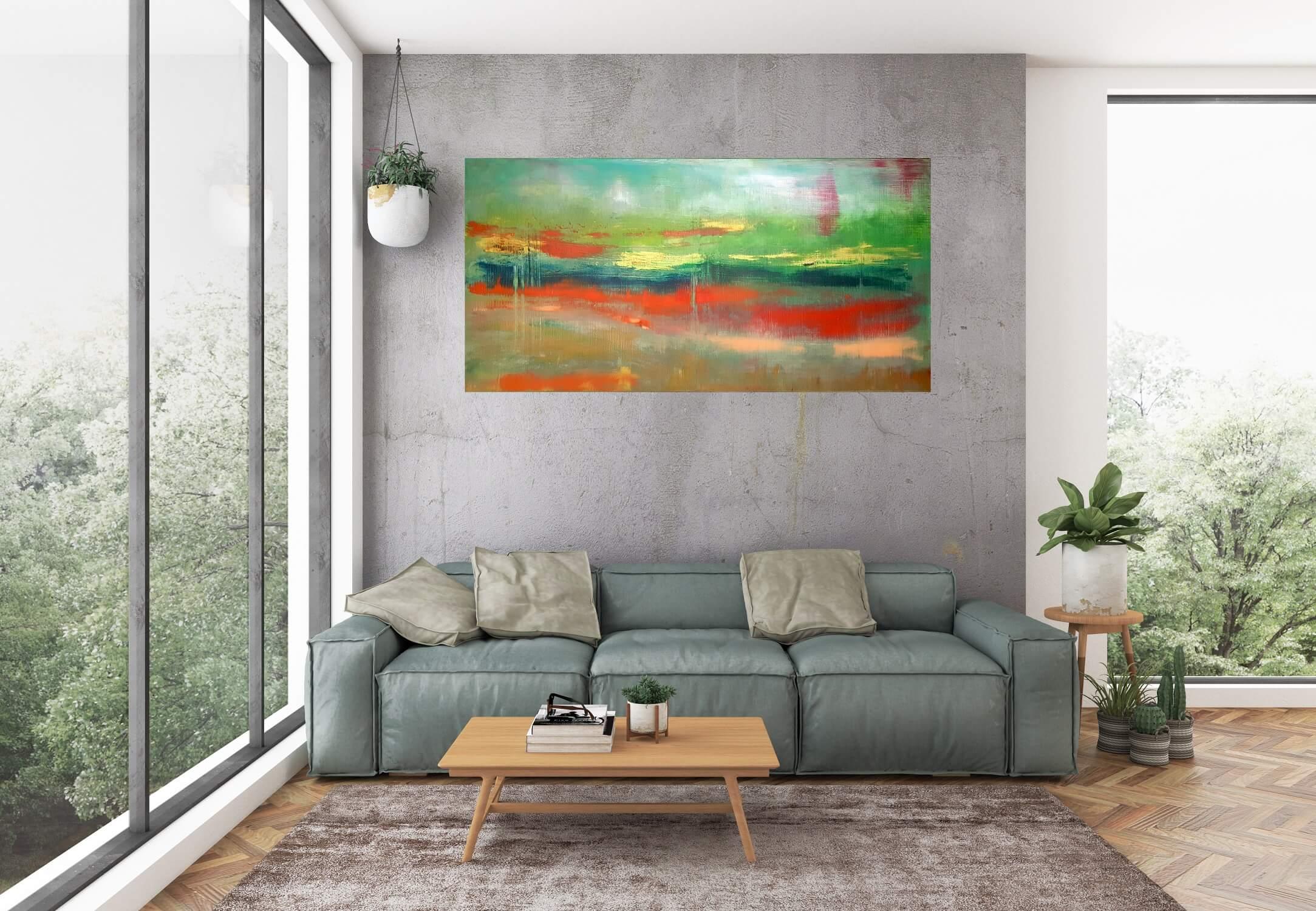 autumnal landcape, green painting, forest, autumn, summer landscape