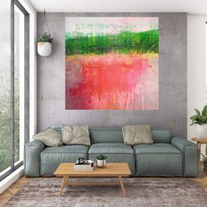 xxl painting, large landscape, lake painting, abstract landscape, ivana olbricht