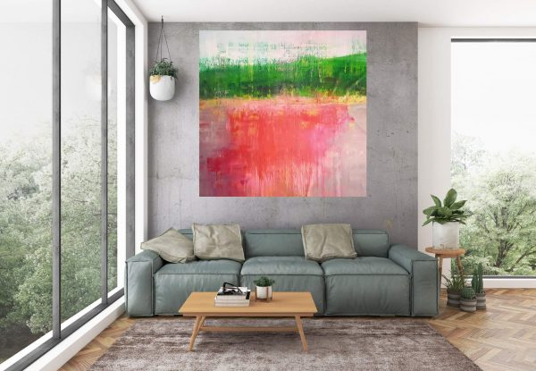 xxl painting, large landscape, lake painting, abstract landscape, ivana olbricht